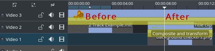 Expand clip immediately below a transition