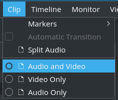 selectively disable audio and/or video from clip menu