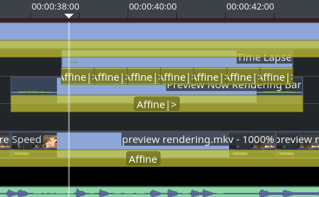 new timeline design using angular corners for clips and transitions