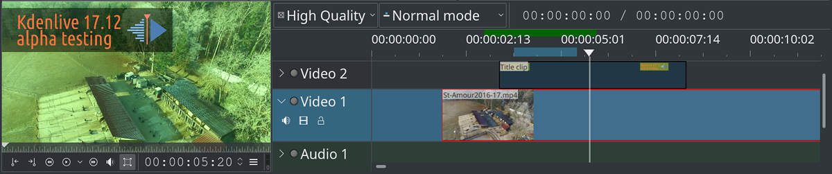 Kdenlive 17.12 alpha for testing will soon be released