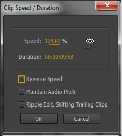 Premiere clips speed menu