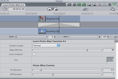 Transitions panel in FCP